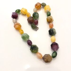 Vtg Carved Lucite/Acrylic Bead Necklace